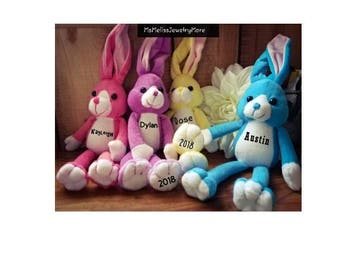 Personalized Plush Bunnies, Animals - First Easter - kids Easter plush - Easter bunny - Easter basket filler - gift idea, long ear bunny