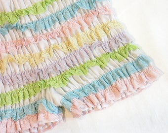 Vintage Ruffled Pantaloons Pastel Candy Stripe Colors Very Lacy and Stretchy, Square Dance Bloomers