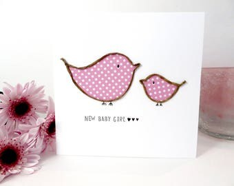 Baby Girl Card, Personalised New baby card, New Mum, Handmade First Mother's Day Card, baby shower card, pink bird card, congratulations