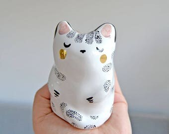 Unique Cat Lover Gift Idea, Animal Totem, Ceramic Miniature Cat Gold Decorated