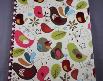 Bird Pattern with Foil Notebook Bound with Ribbon
