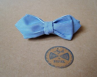 Bow tie adjustable white/blue stripes on order