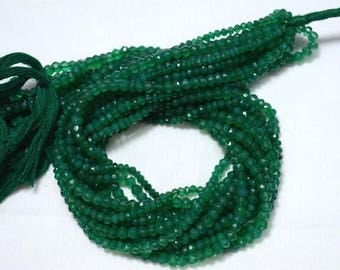 50% DISCOUNT Green Onyx Beads, Onyx Gem Stone, 4.5mm Beads, Faceted Rondelle, Gemstone Beads, 13 Inch Strand