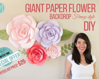 Giant Paper Flower - Firenze Style (PATTERNS + VIDEO TUTORIALS) pdf, svg and png files