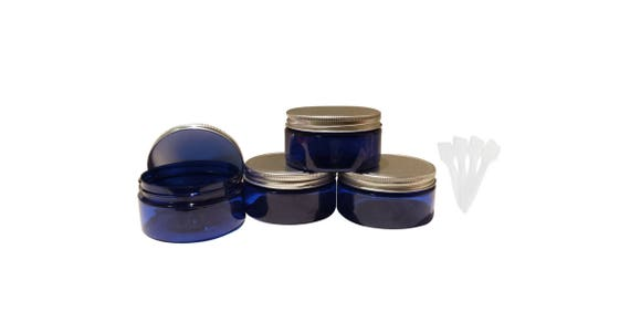 8oz Blue or Amber Plastic Jars PET Heavy Wall Low Profile Wide Mouth Jars 4/pk w/ Air Tight Leak Proof Lined Aluminum Lined Lids + Spatulas