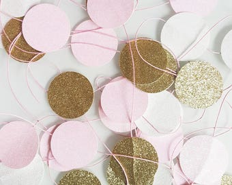Garland of 2 meters of circles in colors pink, white and gold glitter
