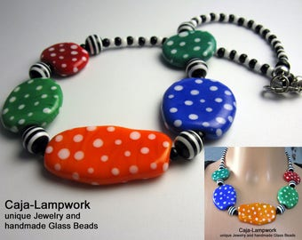 Colorful polka dots chain from handmade Lampwork beads