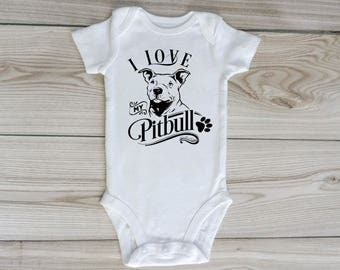 I love my pitbull custom baby onesie