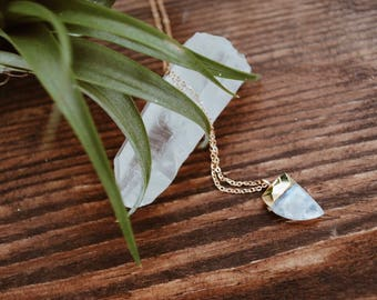 Sharks tooth moonstone necklace, Gemstone necklace, Moonstone charm necklace, Tooth necklace, Boho necklace