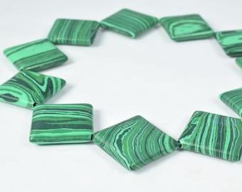 20mm Malachite Square Gemstone Beads 1 strand 12 PCs Size Hole Size 1mm Natural, healing, chakra, birthstone for Jewelry Making
