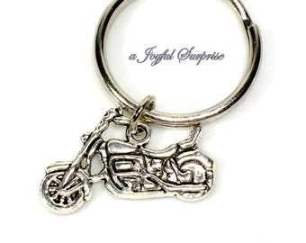 Keychain for Man Key chain, Motorcycle Keyring, Silver Bike Key Ring Pewter Men Biker's Father's Day Present Birthday Him Her Dad son uncle