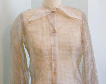 Vintage 1950's Sheer Secratary Blouse with Rhinestone Buttons / 50s bow blouse