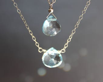 Blue Topaz Necklace, December Birthstone, Floating Necklace, Simple Necklace, Gemstone Necklace, Dainty Necklace