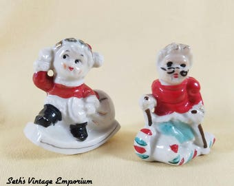 Christmas Figures ~ Skiing Mrs Clause ~ Delivering Christmas Presents ~ Porcelain Figures ~ Japan ~ Holiday Decor ~ Seths Vintage Emporium