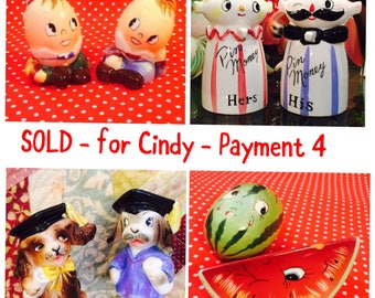 SOLD - for Cindy - Layaway Payment 4 - Relco Pin Banks and 3 sets PY S&P Shakers made in Japan circa 1950sa