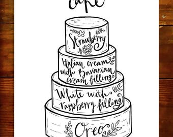 wedding cake flavour sign cake flavor sign etsy 22662