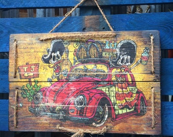 Border Bug by David Lozeau Official wood art Day of the Dead VW Beetle without frame