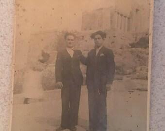 Acropolis Greece Athens, Photo Original VIntage 1900s 2 Mens