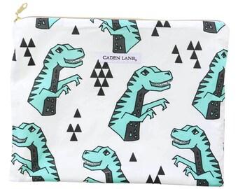 Rex's Dinosaur Wet Bag  | White and Green Travel Bag | Cloth Diaper Zip Pouch | Geometric Waterproof Bag