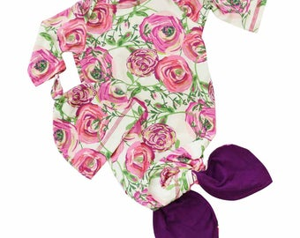 Nora's Pink and Plum Floral Baby Girl Newborn Layette Knot Gown & Hat Set | Baby Girl Going Home Outfit | Mermaid Knot Gown