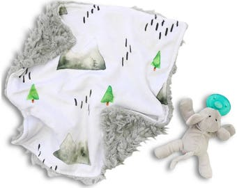 Denver's Mountain Minky Baby Boy Lovey | Green and Grey Woodland Security Blanket | Mini Baby Blanket | Faux Fur Lovie