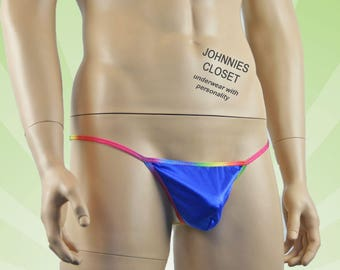 Mens Gay Pride G string with Rainbow Trim Blue