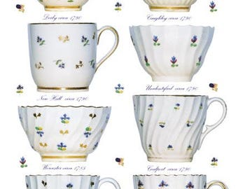 Blank Greetings Card - Georgian Coffee Cups & Tea Bowls, 1785-1795