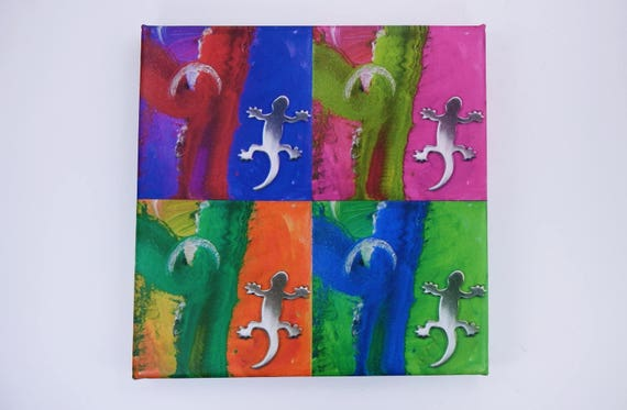 Sale image Gecko Popart lizard-art photography art print on canvas 20 x 20 cm print-wall decoration art-colorful painting