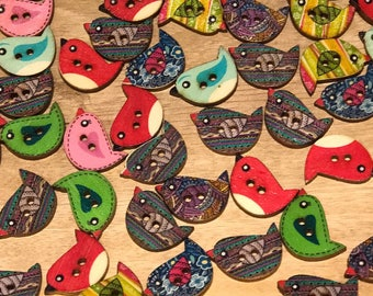 23mm Cute Wood Bird Buttons, 2-hole, Mixed pattern, Bird shaped, 10 pack of buttons