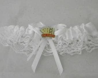 Wedding Reception Party Las Vegas Royal Flush Gambler Garter White