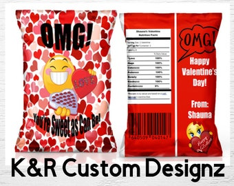 Emoji Inspired Chip Bag, Emoji Valentine's Day Favor Bag, Valentine's Favor Bag, Custom Chip Bags, Valentine's Day