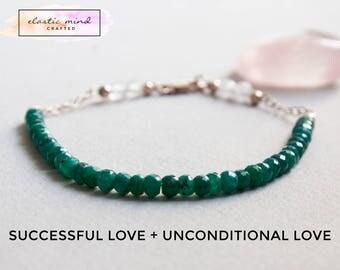 Delicate Emerlad & Rose Quartz Gemstone Bracelet w/ 14K Rose Gold, Minimal Healing Jewelry 3mm Green 4mm Pink Semi Precious Stone Beads