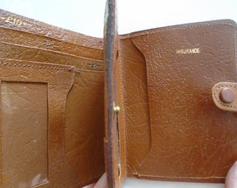 vintage tan leather wallet