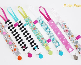Pacifier clip fabric choice for baby or child. Clip metal and silicone.