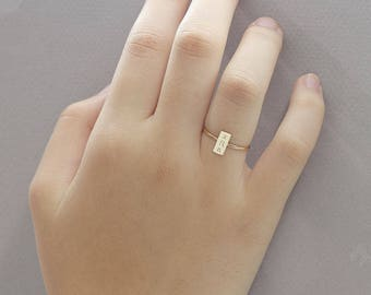 Personalized Bar Ring, Message Bar Ring, Initial Ring, Customized Name Bar ring, Gift for Her (  HCR RR 48OD )