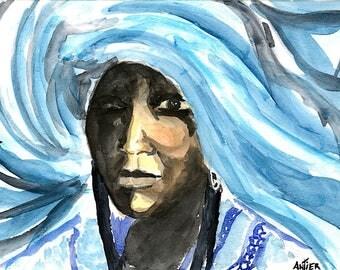 reproduction art A4 watercolor ethnic woman portrait touareg @méka - drepht
