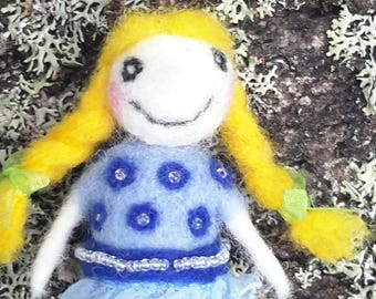 OOAK needle felted doll Goldy, felted doll pendant, doll brooch, miniature felted doll
