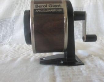 Berol Giant APSCO  pencil sharpener vintage manual wall desk mount 1960's