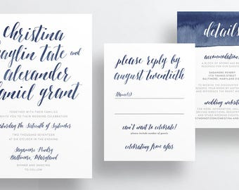 Watercolor Calligraphy Wedding Invites / Deep Navy Blue Watercolor / Semi-Custom Wedding Invitation Suite / Printed Invitations