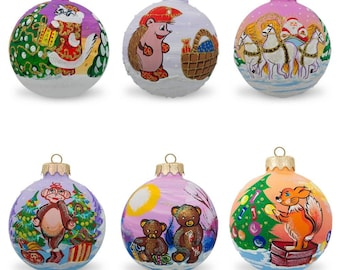 "3.25"" Set of 6 Glass Ball Christmas Ornaments - Horses, Cat, Monkey, Hedgehog & Squirrel"