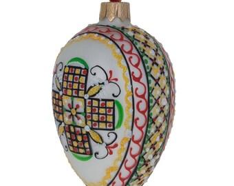 "4"" White Geometric Ukrainian Egg Glass Christmas Ornament"