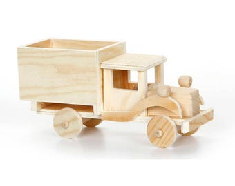 "4"" Blank Unfinished Wooden Toy Truck"