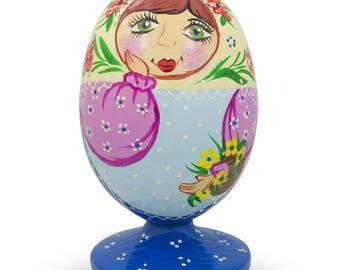 "3.5"" Russian Nesting Doll Matryoshka Floral Scarf Wooden Figurine"
