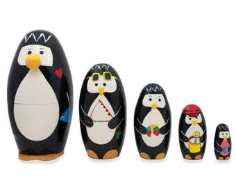 "5"" Set of 5 Penguins Wooden Nesting Dolls"