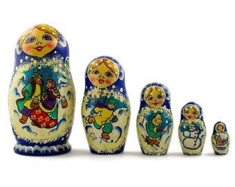 5 pcs/ 5.5'' Winter in the Village Russian Nesting Dolls