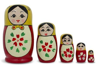 "4.75"" Set of 5 Semenov Wooden Russian Nesting Dolls Matryoshka"