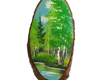 "15"" Spring Forest Woodcut Painting Wall Art Plaque"
