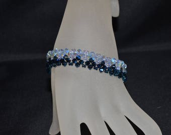 Crystal bracelet Swarovski crystal metallic blue 2x and light sapphire ab2x