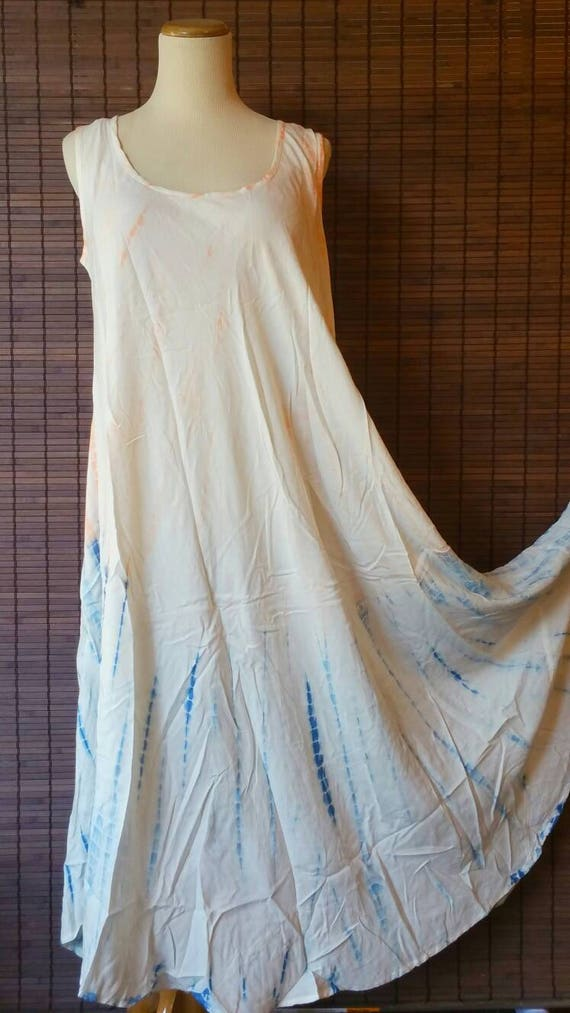 Beige-Blue Tiedye dress summer dress Beach Cover up Sleeveless dress Bohemian dress Indian dress hippie gypsy dress free size dress upto 5XL