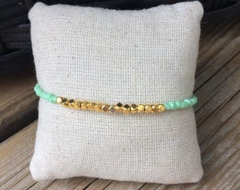 Nugget bracelet, dainty bracelet, simple bracelet, gold nugget, green bracelet, mint bracelet, friendship bracelet, stacking bracelet, mint